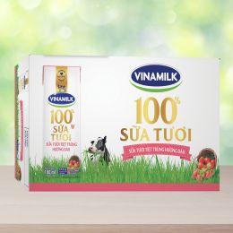 Sữa Tiệt Trùng Vinamilk Hương Dâu 180ml*48 Hộp