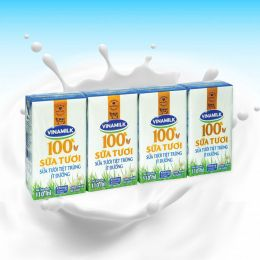 Sữa Tươi Tiệt Trùng 100% Vinamilk Ít Đường 110ml*4 Hộp